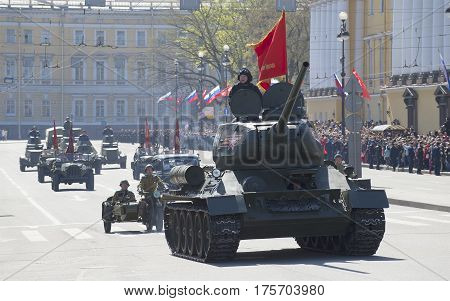 SAINT PETERSBURG, RUSSIA - MAY 09, 2015: The column of military equipment of the great Patriotic war on the parade in honor of Victory day. Saint Petersburg