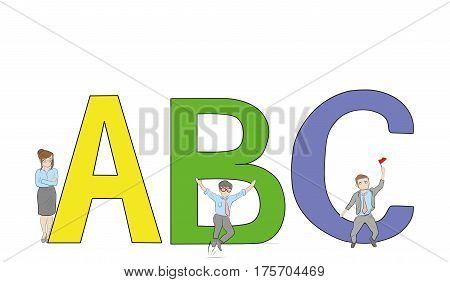 English alphabet with humans. Alphabet with cartoon pictures of people. Flat design. ABC vector