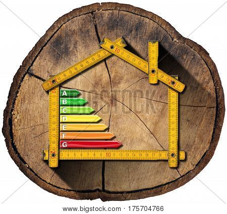 Folding ruler in the shape of house with energy efficiency rating on a section of tree trunk isolated on white background - Project of ecological house