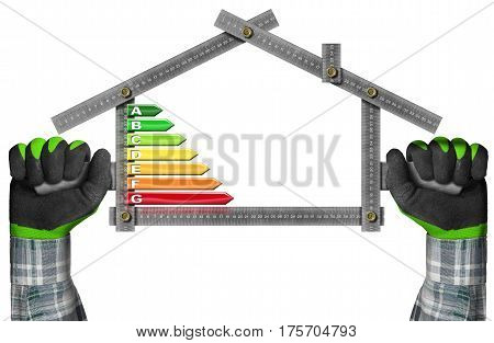 Energy Efficiency - Hands with work gloves holding a metal ruler in the shape of house with energy efficiency rating. Isolated on white background