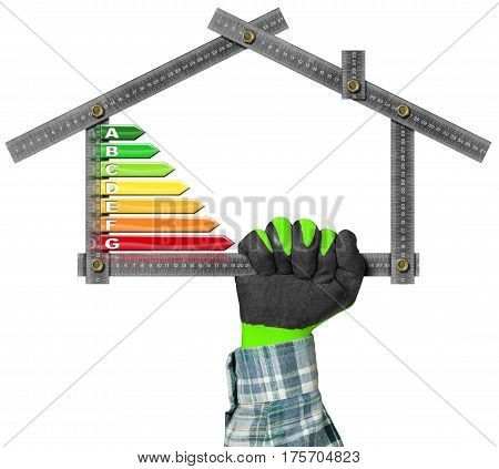 Energy Efficiency - Hand with work glove holding a metal ruler in the shape of house with energy efficiency rating. Isolated on white background