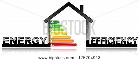 Energy Efficiency - 3D illustration of a symbol in the shape of house with energy efficiency rating. Isolated on white background