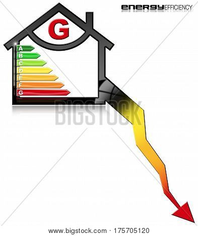 Energy Efficiency G - 3D illustration of a symbol in the shape of house with energy efficiency rating. Isolated on white background