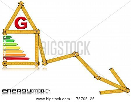 Energy Efficiency G - Yellow wooden folding ruler in the shape of a house with energy efficiency rating. Isolated on white background