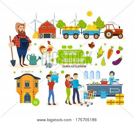Organic health shop concept. Full sales cycle of environmentally friendly products in store, supermarket and shopping center, delivery, purchase of agricultural products. Colorful flat illustration.