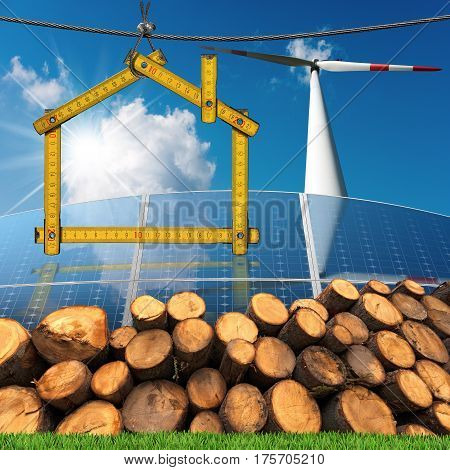 Wooden ruler in the shape of a house with renewable energies Wind (wind turbine) solar (solar panels) biomass (a stack of tree trunks)