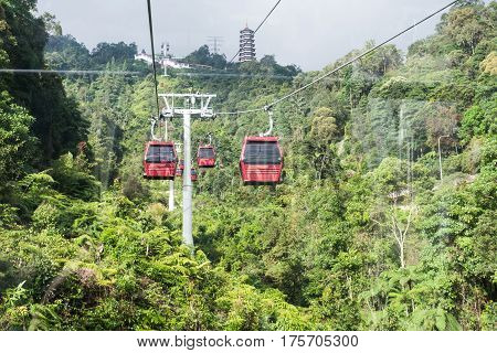 GENTING HIGHLANDS MALAYSIA - February 112017 : Tourists travel on cable car of Genting Skyway