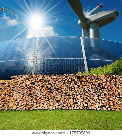 Renewable energies sources - Wind energy (wind turbine) Solar energy (solar panels) biomass (Firewood logs) and a power line