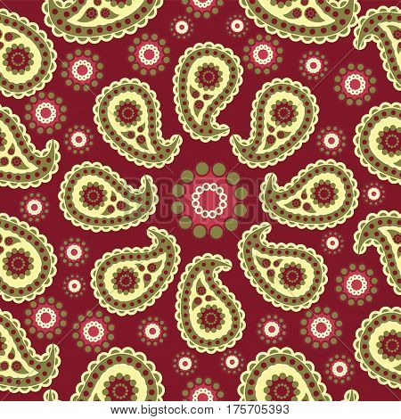 Paisley. Red-brown background. Seamless pattern. Traditional folk pattern with Paisley. Bright, colorful. Design for textiles, wall hangings, wrapping paper.