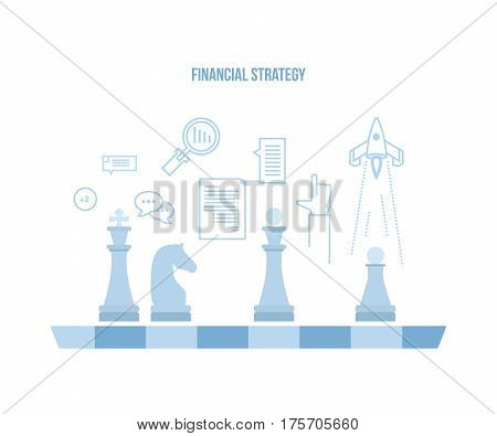 Financial strategy concept. Time planning and operations, financial performance and efficiency, creative approach, analysis and management. Vector illustration isolated on white background.