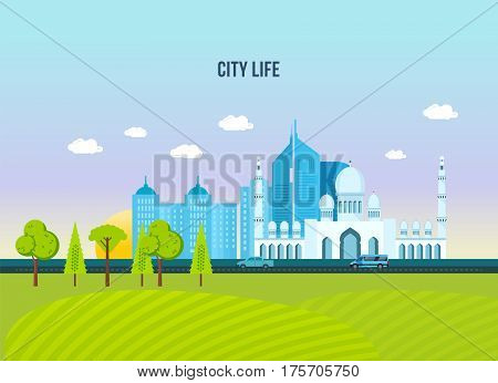 City life, architecture and structure of the city, surrounded by streets and buildings, technology. Vector illustration isolated on white background.