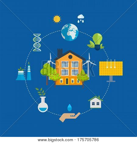 Ecological city concept. New eco-friendly technology, infrastructure, communication, technological progress. Vector illustration. Can be used in banner, mobile app, design.