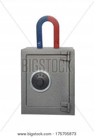 Magnet and safe isolated on a white background.
