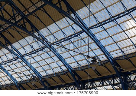 BRIGHTON GREAT BRITAIN - FEB 24 2017: The ceiling of the beautiful train station in Brighton UK. February 24 2017 in Brighton Great Britain