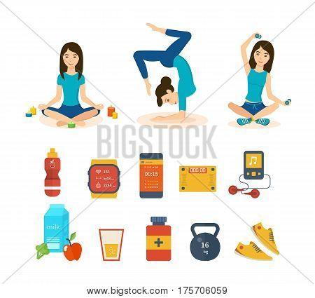 Girls involved in sports and yoga, taking different positions, adhering to a healthy lifestyle and diet, taking vitamins, drinks, making sure health. Vector illustration isolated on white background.