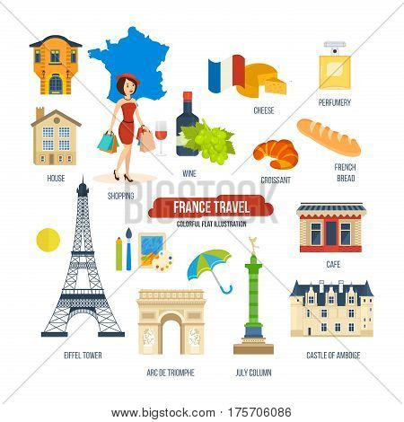 France travel concept. Familiarity with traditions, culture, architecture, sights, food, brand perfume, shopping in stores and boutiques, drinks and atmosphere of the city.