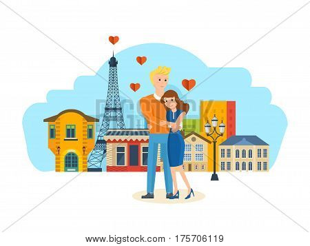 Happy couples in love in the Paris concept. A loving young couple hugging, showing warmth and respect for each other, happy and in a good mood. Vector illustration isolated on white background.