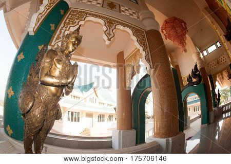 UDON THANI,THAILAND- JAN 25,2014 : Image of Thai art of angel on the Wat Pa Phu Kon is located in the village of Ban Na Kham  Tambon Ban Kong in  Amphoe Na Yung  the northwestern part of the province of Udon Thani. The temple was built between 2010 and 20