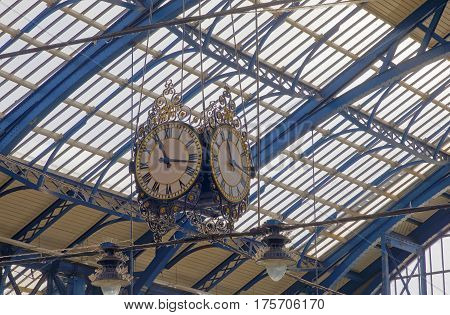 BRIGHTON GREAT BRITAIN - MAR 01 2017: The beautiful clock in the train station in Brighton UK. March 03 2017 in Brighton Great Britain