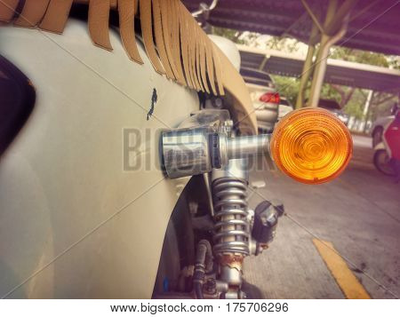 Turn light signal of motorcycle with vintage color style