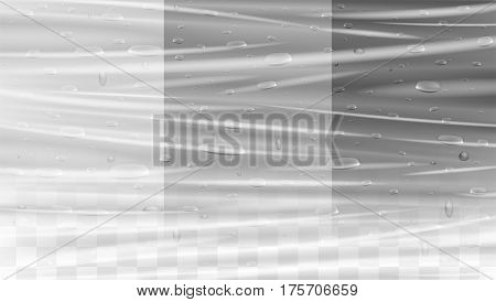 real water drop on a transparent plastic wrap texture