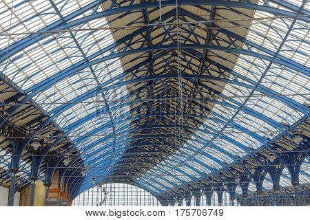 BRIGHTON GREAT BRITAIN - MAR 01 2017: The ceiling of the beautiful train station in Brighton UK. March 03 2017 in Brighton Great Britain