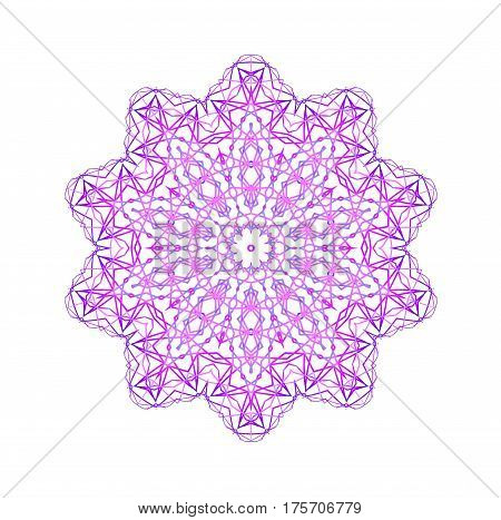 Abstract concentric shape from pink color lines on white background