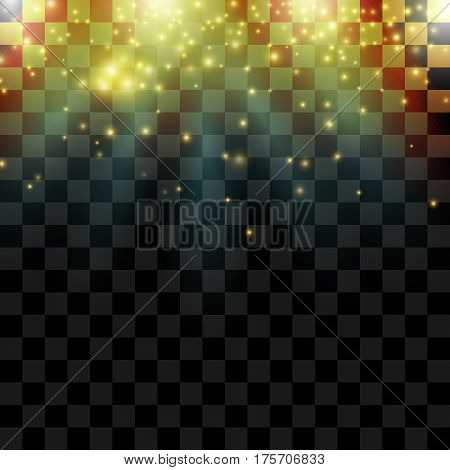 Falling magical shiny sparklers with beams. Glow lights effect on transparent background. Vector top border.
