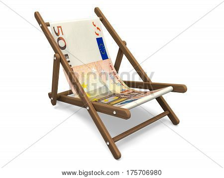 Deckchair with the euro banknote. Concept 3D illustration.
