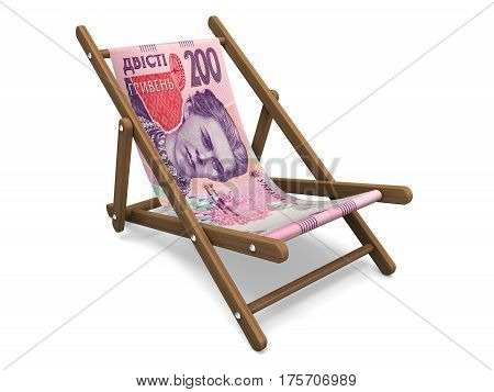Deckchair with the hrivha banknote. Concept 3D illustration.