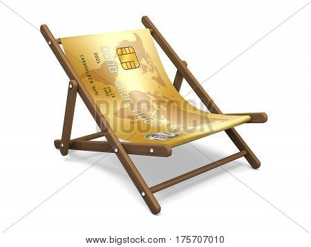 Deckchair with the credit card. Concept 3D illustration.
