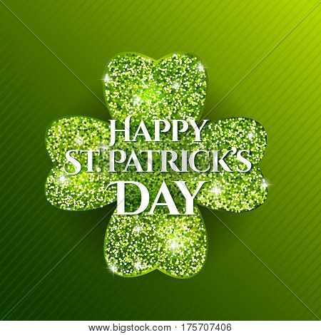 St. Patrick's Day banner. Holiday poster with wishes text and glitter clover shape.