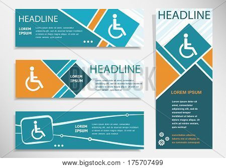 Disabled Handicap Icon On Horizontal And Vertical Banner. Modern Banner Design Template.