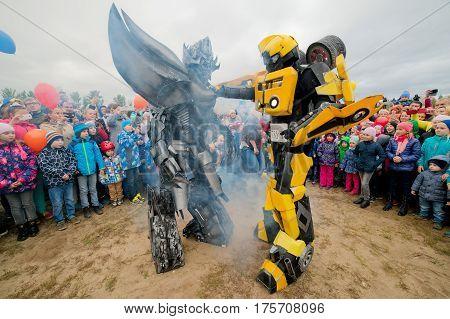 Russia. Moscow region. Balashikha - September 18, 2016. Show of transformers for children