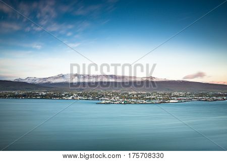 Akureyri City In Northern Iceland At Sunrise