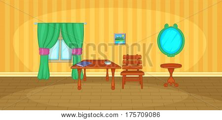 Interior horizontal banner concept. Cartoon illustration of interior vector horizontal banner for web