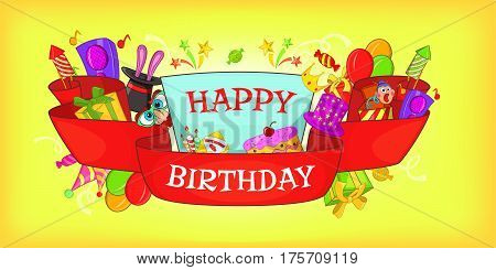 Happy birthday horizontal banner concept. Cartoon illustration of Happy birthday vector horizontal banner for web