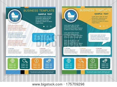 Baby Buggy Symbol On Vector Brochure Flyer Design Layout Template, Size A4