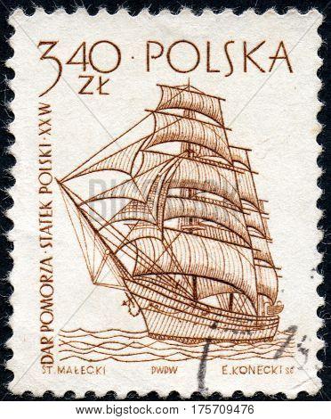 UKRAINE - CIRCA 2017: A stamp printed in Poland shows a historic frigate ship built in 1909 circa 1963