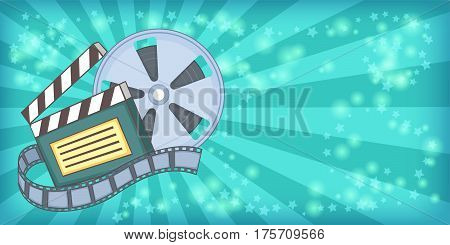 Cinema movie horizontal banner concept reel. Cartoon illustration of cinema movie reel vector horizontal banner for web