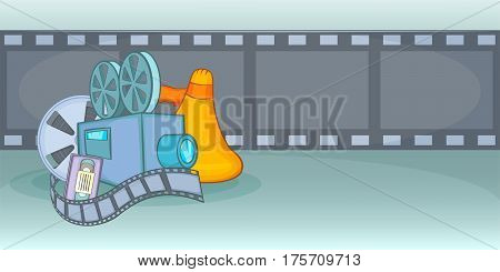 Cinema movie horizontal banner concept film. Cartoon illustration of cinema movie film vector horizontal banner for web