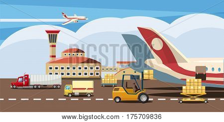 Logistic horizontal banner concept. Cartoon illustration of logistic vector horizontal banner for web