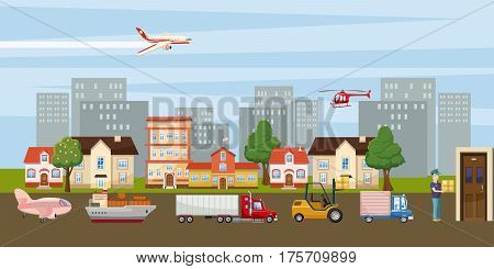 Logistic horizontal banner city concept. Cartoon illustration of logistic vector horizontal city banner for web