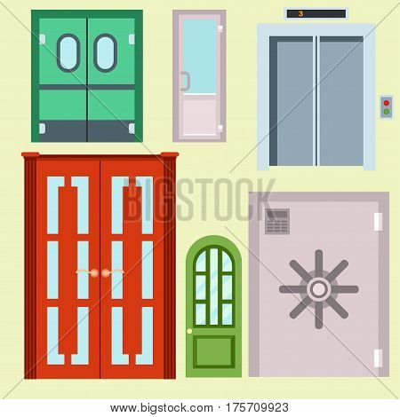 Set of color doors. Colorful front doors to houses and buildings set in flat design style isolated. Vector illustration doors isolated modern new decoration open elegant room lock.