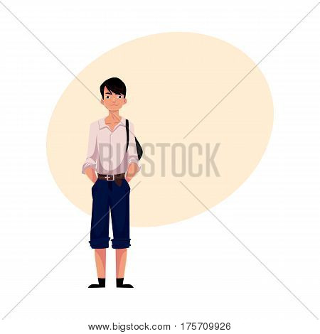 Japanese teenage schoolboy in typical uniform wearing white shirt and shorts, cartoon vector illustration with place for text. Full length portrait of typical Japanese schoolboy