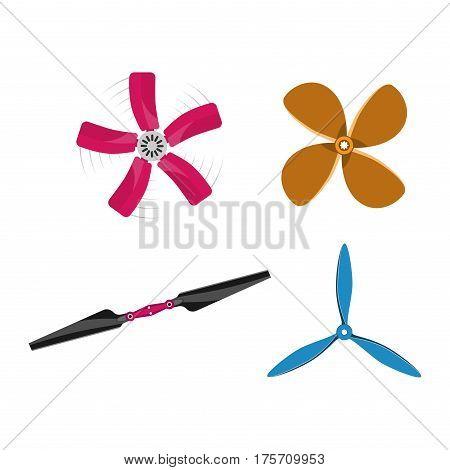 Turbines icons propeller fan rotation technology equipment. Fan blade, wind ventilator propeller fan equipment generator. Vector illustration propeller fan vector electric industrial ventilators.