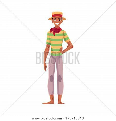 Brazilian man in traditional costume for Festa Junina party, wearing straw hat and red neck tie, cartoon vector illustration isolated on white background. Brazilian man dressed for Festa Junina party