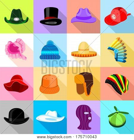 Headdress hat icons set colorful. Flat illustration of 16 headdress hat vector icons for web