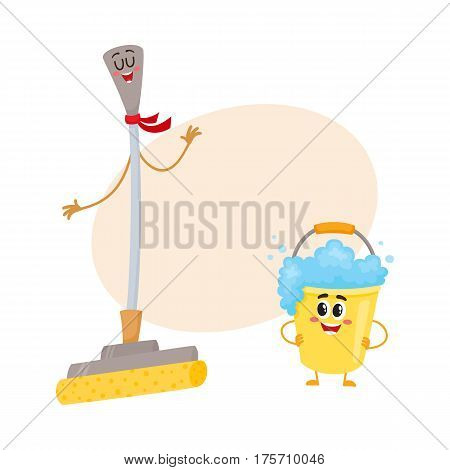 Funny sponge mop and soap foam bucket characters with smiling human faces, cartoon vector illustration with place for text. Sponge mop and soap foam bucket characters, floor washing