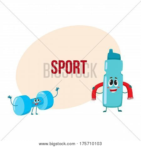 Funny dumbbell and protein shake bottle characters with smiling human faces, gym equipment, cartoon vector illustration with place for text. Smiling dumbbell and protein shaker characters